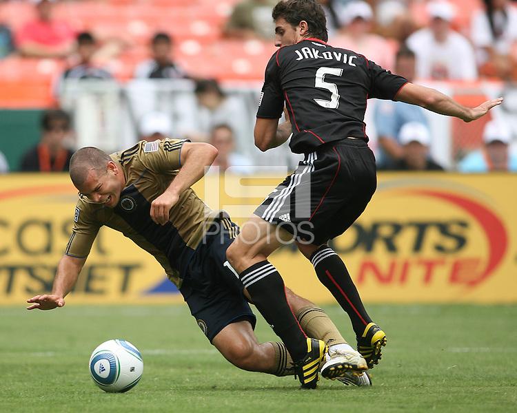 Dejan Jakovic #5 of D.C. United knocks down Alejandro Moreno #15 of the Philadelphia Union during an MLS match at RFK Stadium on August 22 2010, in Washington DC. United won 2-0.