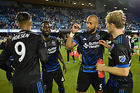 San Jose, CA - Monday July 10, 2017: Danny Hoesen, Simon Dawkins, Victor Bernardez, Florian Jungwirth after a U.S. Open Cup quarterfinal match between the San Jose Earthquakes and the Los Angeles Galaxy at Avaya Stadium.