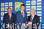 Kerry minor Captain Liam Kearney was presented his All Ireland medal by GAA President Liam O'Neill and Munster board Chairman Robert Frost
