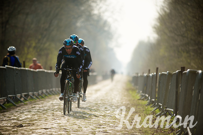 Paris-Roubaix 2012 recon..Juan Antonio Flecha showing the way