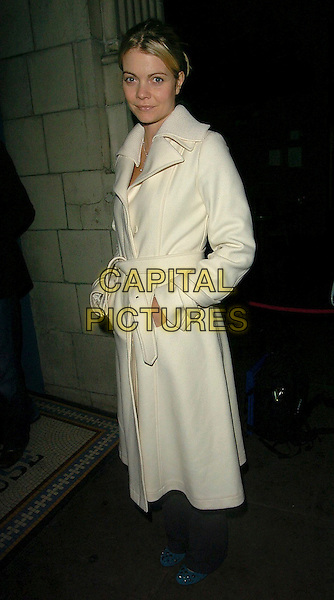 JEMMA KIDD.Grand Classics - Annie Hall - private VIP screening at the Electric Cinema Cinema, London, UK..December 12th, 2005.Ref: CAN.full length white jacket coat Gemma hands in pockets.www.capitalpictures.com.sales@capitalpictures.com.©Capital Pictures