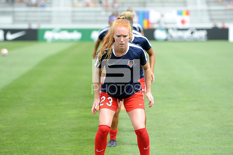 Boyds, MD - Saturday August 12, 2017: Tori Huster during a regular season National Women's Soccer League (NWSL) match between the Washington Spirit and The Boston Breakers at Maureen Hendricks Field, Maryland SoccerPlex.