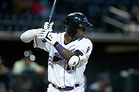 Luis Robert (21) of the Winston-Salem Dash at bat against the Wilmington Blue Rocks at BB&T Ballpark on April 15, 2019 in Winston-Salem, North Carolina. The Dash defeated the Blue Rocks 9-8. (Brian Westerholt/Four Seam Images)