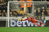 3rd November 2017, Molineux, Wolverhampton, England; EFL Championship football, Wolverhampton Wanderers versus Fulham; Goalkeeper David Button of Fulham dives to push the ball round the post