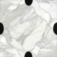 Grace, a stone water jet mosaic, shown in Nero Marquina and Calacatta Tia, is part of the Ann Sacks Beau Monde collection sold exclusively at www.annsacks.com