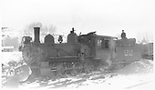 RGS 4-6-0 #22 with pilot plow at Ridgway.<br /> RGS  Ridgway, CO  Taken by Perry, Otto C. - 2/23/1940