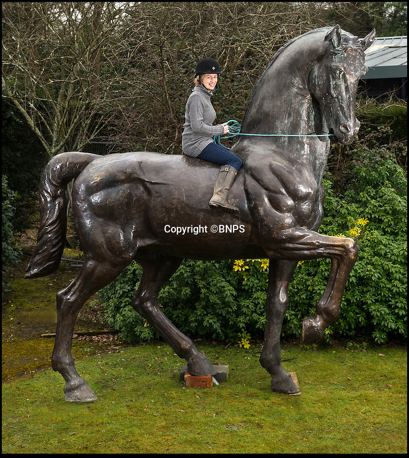 BNPS.co.uk (01202 558833)<br /> Pic: PhilYeomans/BNPS<br /> <br /> A large step up from a garden gnome -Auctioneer Lindsay Hoadley trys out a monumental bronze horse - Yours for £30,000.<br /> <br /> This huge bronze horse was commissioned for Camden Lock in the 1990s, but is now for sale at Summers Place Auctions of Billingshurst West Sussex.<br /> <br /> At nearly 12ft high and 12ft long the stunning equine sculpture should make the ultimate 'statement piece'...providing you have a garden big enough to put it in.