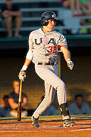 Dominic Ficociello #32 (Arkansas) of the USA Baseball Collegiate National Team follows through on his swing against the Gastonia Grizzlies at Sims Legion Park on June 30, 2011 in Gastonia, North Carolina.  Team USA defeated the Grizzlies 12-5.  Brian Westerholt / Four Seam Images