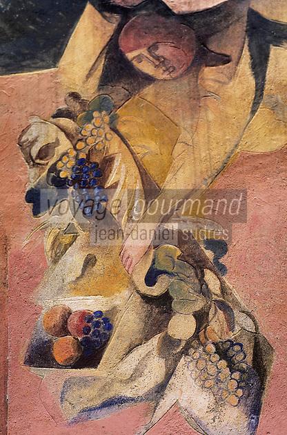 Europe/Italie/Emilie-Romagne/Dozza Imolese : Mur peint représentant les vendanges