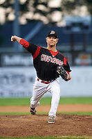 Batavia Muckdogs relief pitcher Steven Farnworth (55) delivers a pitch during the ninth inning of a game against the Mahoning Valley Scrappers on June 24, 2015 at Dwyer Stadium in Batavia, New York.  Batavia defeated Mahoning Valley 1-0 as Gabriel Castellanos, Brett Lilek and Farnworth combined on the organizations first perfect game in team history.  (Mike Janes/Four Seam Images)