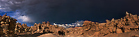 988000010 a panoramic view of the hoodoos and a summer thunderstorm in fantasy canyon blm lands utah united states