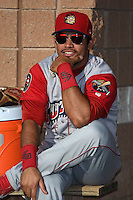 Williamsport Crosscutters first baseman Wilmer Oberto (22) in the bullpen before a game against the Batavia Muckdogs on August 25, 2014 at Dwyer Stadium in Batavia, New York.  Batavia defeated Williamsport 3-0.  (Mike Janes/Four Seam Images)