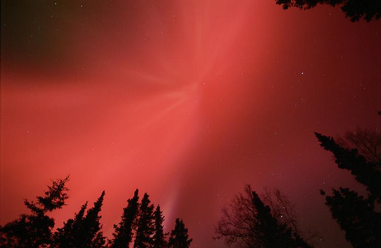 The aurora borealis, or northern lights, fill the night sky above Kenai, Alaska.