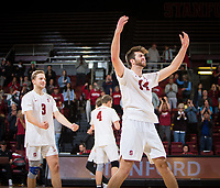 STANFORD, CA - January 17, 2019: Paul Bischoff, Kyler Presho at Maples Pavilion. The Stanford Cardinal defeated UC Irvine 27-25, 17-25, 25-22, and 27-25.