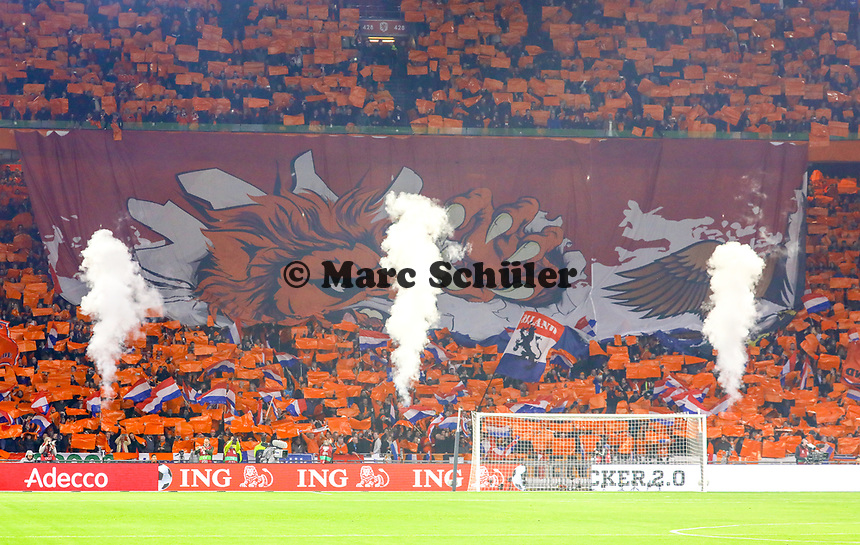 Holländischer Löwe will den deutschen Adler rupfen - 24.03.2019: Niederlande vs. Deutschland, EM-Qualifikation, Amsterdam Arena, DISCLAIMER: DFB regulations prohibit any use of photographs as image sequences and/or quasi-video.