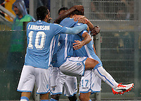Calcio, Serie A: Lazio vs Udinese. Roma, stadio Olimpico, 13 settembre 2015.<br /> Lazio&rsquo;s Alessandro Matri, right, celebrates with teammates after scoring during the Italian Serie A football match between Lazio and Udinese at Rome's Olympic stadium, 13 September 2015.<br /> UPDATE IMAGES PRESS/Isabella Bonotto