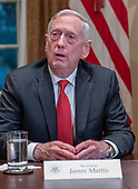 United States Secretary of Defense James Mattis answers a question after US President Donald J. Trump made a statement to the media as he prepares to receive a briefing from senior military leaders in the Cabinet Room of the White House in Washington, DC on Tuesday, October 23, 2018.  The President took questions on the proposed space force, immigration, the caravan and Saudi actions in the killing of Jamal Khashoggi.<br /> Credit: Ron Sachs / Pool via CNP