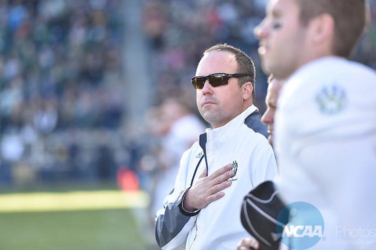 19 DEC 2015:  Head coach Adam Dorrel of Northwest Missouri State University during the Division II Men's Football Championship held at Sporting Park in Kansas City, KS. Northwest Missouri State defeated Shepherd 34-7 for the national title.  Justin Tafoya/NCAA Photos