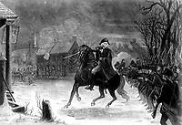 Washington at the Battle of Trenton.  December 1776.  Copy of engraving by Illman Brothers after E. L. Henry, ca. 1870. (George Washington Bicentennial Commission)<br />