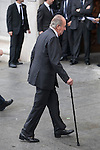 King Juan Carlos of Spain arrives to the state funeral for former Spanish prime minister Adolfo Suarez at the Almudena Cathedral in Madrid, Spain. March 31, 2014. (ALTERPHOTOS/Victor Blanco)