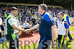 manager Eamonn Fitzmaurice with Tipperary Manager Liam Kerins after the Senior Munster Football Final at Fitzgerald Stadium, Killarney on Sunday.