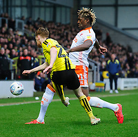 Burton Albion's Stephen Quinn under pressure from Blackpool's Armand Gnanduillet<br /> <br /> Photographer Chris Vaughan/CameraSport<br /> <br /> The EFL Sky Bet League One - Burton Albion v Blackpool - Saturday 16th March 2019 - Pirelli Stadium - Burton upon Trent<br /> <br /> World Copyright &copy; 2019 CameraSport. All rights reserved. 43 Linden Ave. Countesthorpe. Leicester. England. LE8 5PG - Tel: +44 (0) 116 277 4147 - admin@camerasport.com - www.camerasport.com