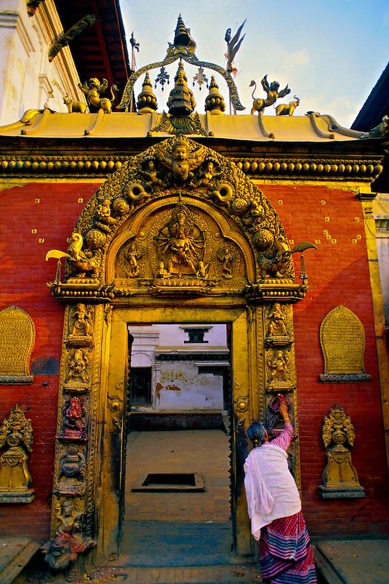 The Golden Gate entrance to the Palace of 55 Windows, Durbar Square, Bhaktapur, Kathmandu Valley, Nepal