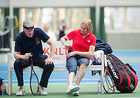 Hilversum, The Netherlands, March 09, 2016,  Tulip Tennis Center, NOVK,  Mixed Doubles 65+, Drikus Oosterveld and Anneke Jelsma-De Jong<br /> Photo: Tennisimages/Henk Koster