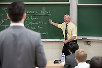 Professor Woody Studenmund teaches his economics class in Fowler Hall, Dec. 1, 2016.<br /> (Photo by Marc Campos, Occidental College Photographer)