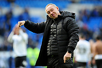 Steve Cooper Head Coach of Swansea City applauds the fans at the final whistle during the Sky Bet Championship match between Cardiff City and Swansea City at the Cardiff City Stadium in Cardiff, Wales, UK. Sunday 12 January 2020