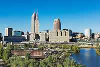 City skyline and the Cuyahoga River, Cleveland, Ohio, USA.