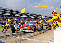 Nov. 8, 2009; Fort Worth, TX, USA; NASCAR Sprint Cup Series driver Kyle Busch pits during the Dickies 500 at the Texas Motor Speedway. Mandatory Credit: Mark J. Rebilas-
