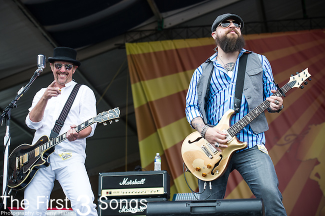 John Thomas Griffith and Matt Jones of Cowboy Mouth performs during the New Orleans Jazz & Heritage Festival in New Orleans, LA.