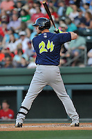 Right fielder Jeff Diehl (24) of the Columbia Fireflies bats in a game against the Greenville Drive on Saturday, April 23, 2016, at Fluor Field at the West End in Greenville, South Carolina. Columbia won, 7-3. (Tom Priddy/Four Seam Images)