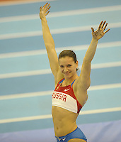 Photo: Ady Kerry/Richard Lane Photography..Aviva Grand Prix. 21/02/2009. .Yelana Isinbayeva celebrates clearing the pole vault and winng the competition