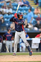 Rome Braves catcher William Contreras (27) awaits a pitch during a game against the Asheville Tourists at McCormick Field on June 5, 2018 in Asheville, North Carolina. The Tourists defeated the Braves 11-6. (Tony Farlow/Four Seam Images)