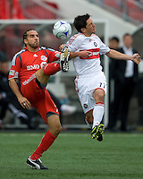 16 May 09: Chicago Fire midfielder John Thorrington #11and Toronto FC midfielder Dewayne DeRosario #14 in action at BMO Field during a game between the Chicago Fire and Toronto FC..Chicago Fire won 2-0..
