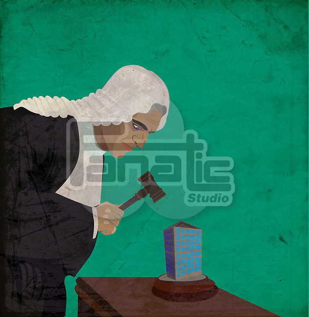 Illustration of judge with gavel auctioning building