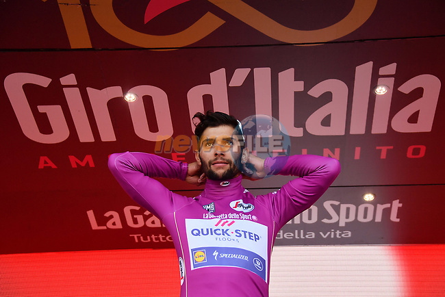 Fernando Gaviria (COL) Quick-Step Floors retains the points Maglia Ciclamino at the end of Stage 14 of the 100th edition of the Giro d'Italia 2017, running 131km from Castellania to Oropa, Italy. 20th May 2017.<br /> Picture: LaPresse/Gian Mattia D'Alberto | Cyclefile<br /> <br /> <br /> All photos usage must carry mandatory copyright credit (&copy; Cyclefile | LaPresse/Gian Mattia D'Alberto)