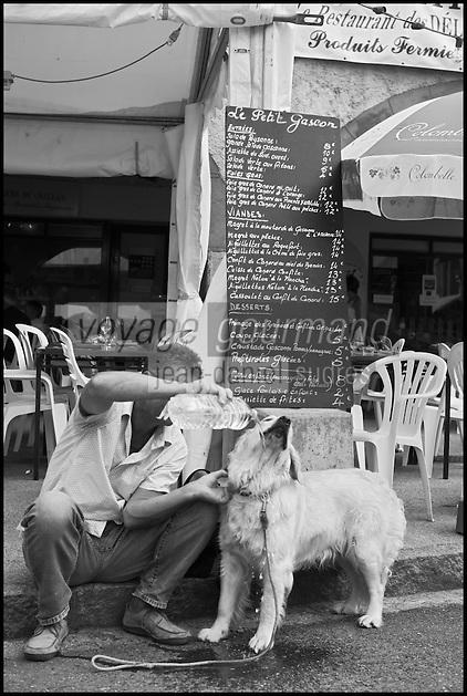 Europe/France/Midi-Pyrénées/32/Gers/Marciac:  le village pendant le Festival de jazz - un estivant rafraichit son chien