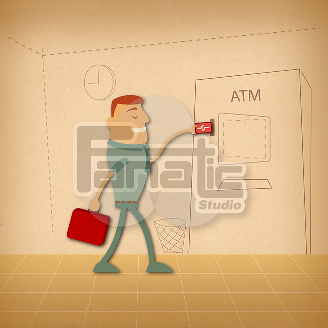 Man using an ATM