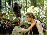 Star Wars: Episode VI - Return of the Jedi (1983) <br /> Carrie Fisher &amp; Harrison Ford<br /> *Filmstill - Editorial Use Only*<br /> CAP/KFS<br /> Image supplied by Capital Pictures