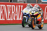 11.11.2012 SPAIN GP Generali de la Comunitat Valenciana Moto 2  Race. The picture show Marc Marquez (Spanish rider Monlau Competicion SUTER) and  Julian Simon (Spanish Rider Bqr FTR)