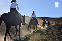 Tourist riding horses in the Haleakala crater (Licence this image exclusively with Getty: http://www.gettyimages.com/detail/84430551 )