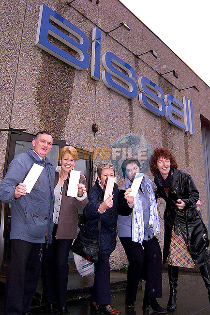 Noel Mohan, Ann Monahan, Ann Rice, Michelle Mooney and Breda Heeney with thier last clocking out cards from Bissell..Picture: Paul Mohan/Newsfile