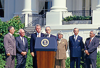 Minister of Foreign Affairs of Israel Shimon Peres makes remarks during the signing ceremony of the historic Israeli-PLO Agreement, known as the Oslo 1 Accord, on the South Lawn of the White House in Washington, DC on September 13, 1993.  Pictured, from left to right: From left to right are: Foreign Minister Andrei Kozyrev of Russia; Prime Minister Yitzhak Rabin of Israel; United States President Bill Clinton; Peres; Chairman Yasser Arafat of the Palestine Liberation Organization (PLO); US Secretary of State Warren Christopher; and Arafat aide Mahmoud Abbas.<br /> Credit: Arnie Sachs / CNP /MediaPunch