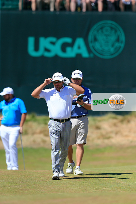 Graeme McDOWELL (NIR) on the 12th green during Wednesday's Practice Day of the 2015 U.S. Open 115th National Championship held at Chambers Bay, Seattle, Washington, USA. 6/17/2015.<br /> Picture: Golffile | Eoin Clarke<br /> <br /> <br /> <br /> <br /> All photo usage must carry mandatory copyright credit (&copy; Golffile | Eoin Clarke)