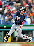 31 March 2011: Atlanta Braves outfielder Nate McLouth in action on Opening Day against the Washington Nationals at Nationals Park in Washington, District of Columbia. The Braves shut out the Nationals 2-0 to start off the 2011 Major League Baseball season. Mandatory Credit: Ed Wolfstein Photo