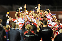 Gloucester Rugby captain Billy Twelvetrees lifts the trophy after winning the European Rugby Challenge Cup Final against Edinburgh Rugby
