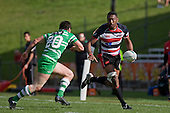 Rupeni Nasiga has Matty James to contend with as he makes a run down the sideline during the Air New Zealand Cup rugby game between the Counties Manukau Steelers & Manawatu Turbos, played at Growers Stadium Pukekohe on Staurday September 20th 2008..Counties Manukau won 27 - 14 after trailing 14 - 7 at halftime.